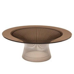 1970s Warren Platner Nickel and Smoked Glass Coffee Table