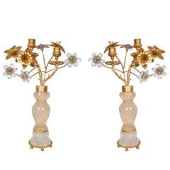 Pair of Beautiful Rock Crystal Flower Vase Candleholders