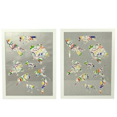 Pair of Colorful Bird Lithographs