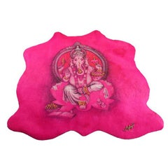 Ganesh Pink Tapestry Fuchsia in Cow Leather, with Swarovski and Ambers