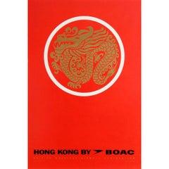 Original Vintage Air Travel Poster for Hong Kong by BOAC Ft. Gold Dragon Design
