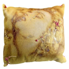 Cow Leather Cushion Silk Fabric, Marilyn Monroe Figure, Swarovski, Made in Italy