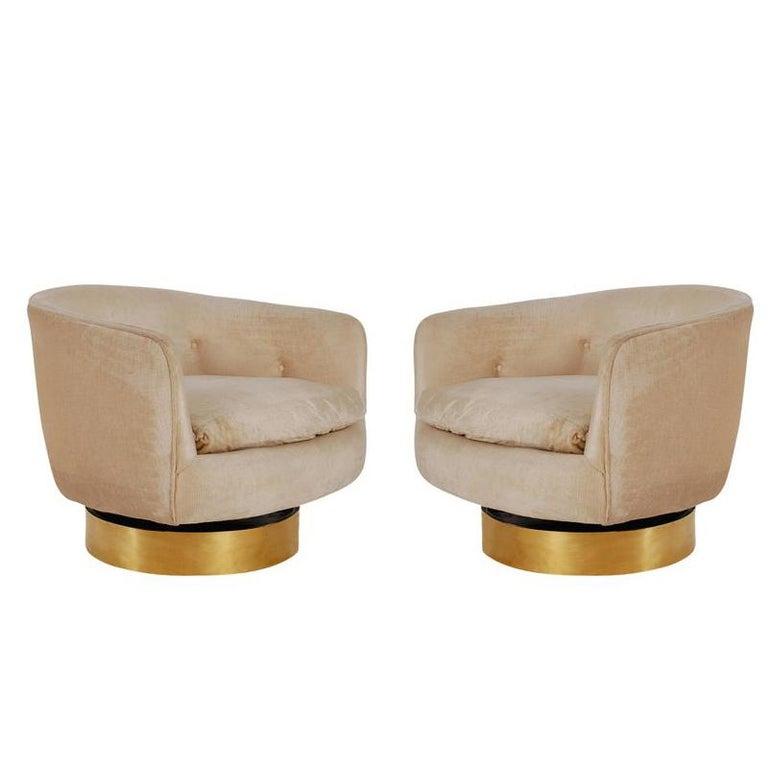 Mid-Century Modern Brass Base Swivel Barrel Back Lounge Chairs by Milo Baughman