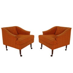 Matching Pair of Midcentury Lounge Chairs on Casters after Wormley for Dunbar