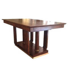 Art Deco Table, Walnut Wood, Brass Finishing