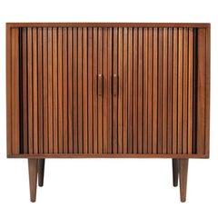 Mid-Century Modern Tambour-Door Cabinet