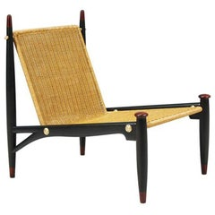 Mexican Modernist Wicker & Rosewood Lounge Chair by Frank Kyle