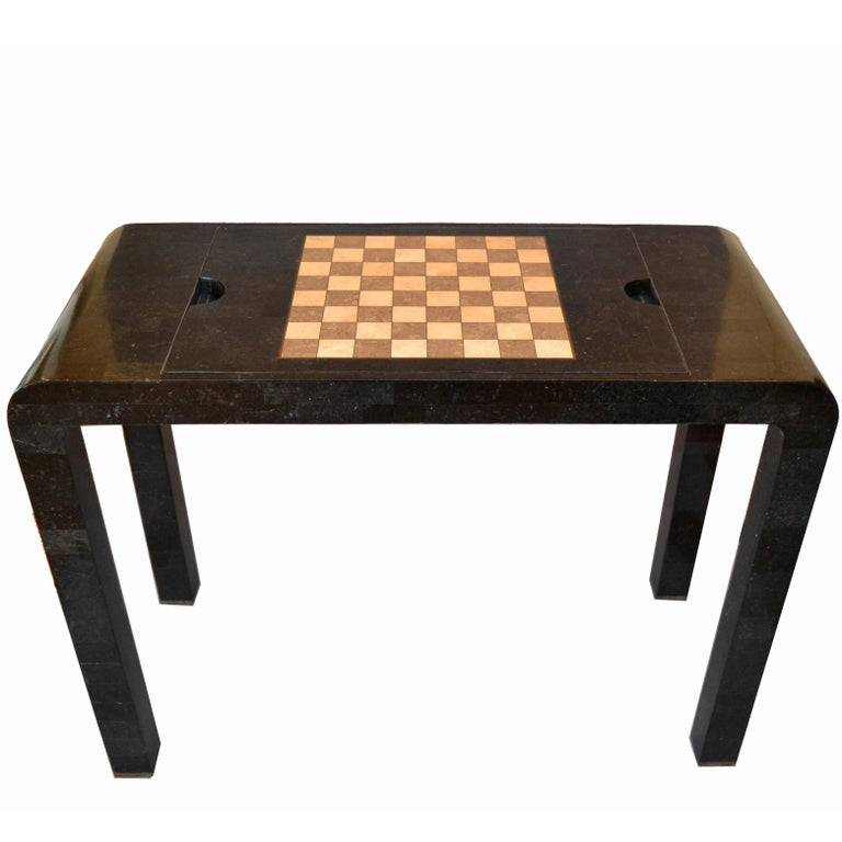 Maitland Smith Tessellated Stone over Wood Game Table Console For Sale