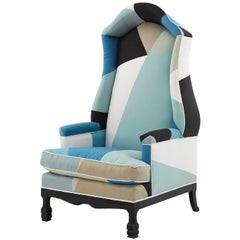 Canopy Chair Reupholstered in Schumacher & Co. Cubist Peacock Silk Fabric