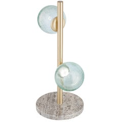 """New """"Craquele/T"""" Handmade Sculpture Table Lamp with Art Glass"""