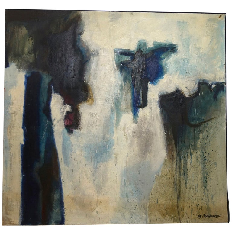 Large Midcentury Abstract Expressionism Painting, California Bay Area Artist For Sale