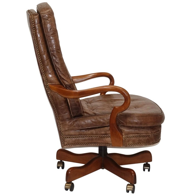 Executive Desk Chair with Alligator Embossed Leather For Sale