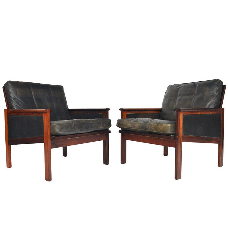 Pair of Illum Wikkelsø Rosewood and Leather Capella Lounge Chairs