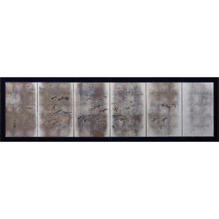 Japanese Meiji Period Dragonfly Screen on Silver Leaf, Kawabe Kakyo