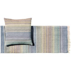Missoni Home Simone Throw and Cushion in Pale Blue and Red with Chevron Pattern