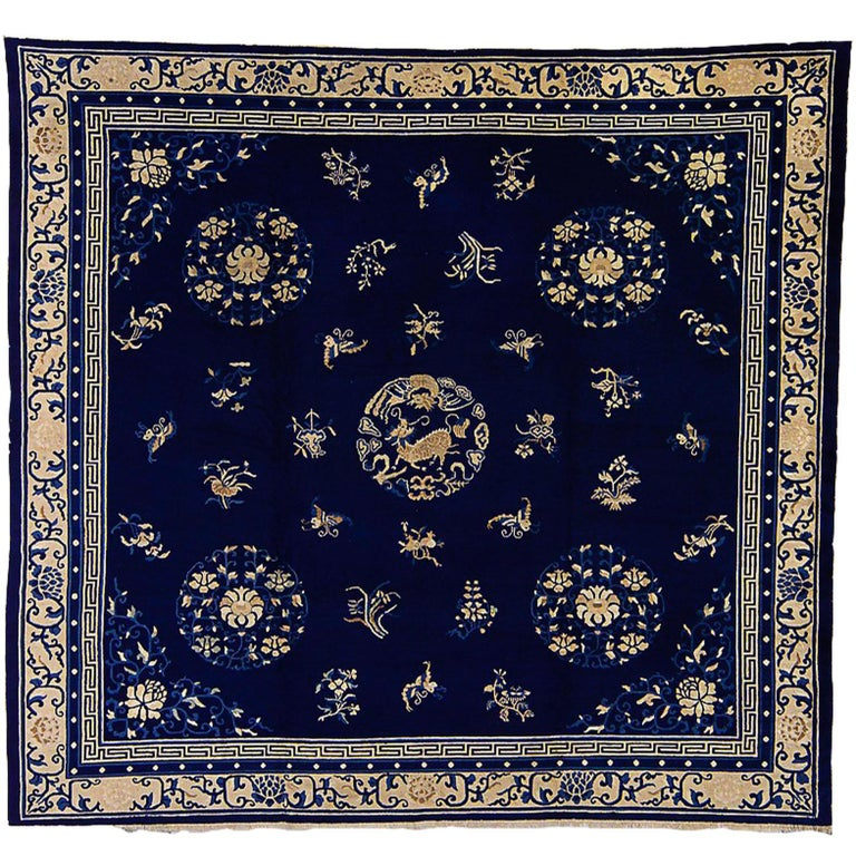 Blue And White Chinese Rugs: 19th Century Blue White Medallion With Animals Wool
