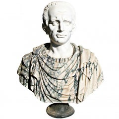 Hand-Carved Bust of Roman Emperor Julius Caesar in Different Coloured Marbles