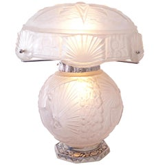 Art Deco Pattern, White Table Lamp by Muller Frères Luneville France, 1920s