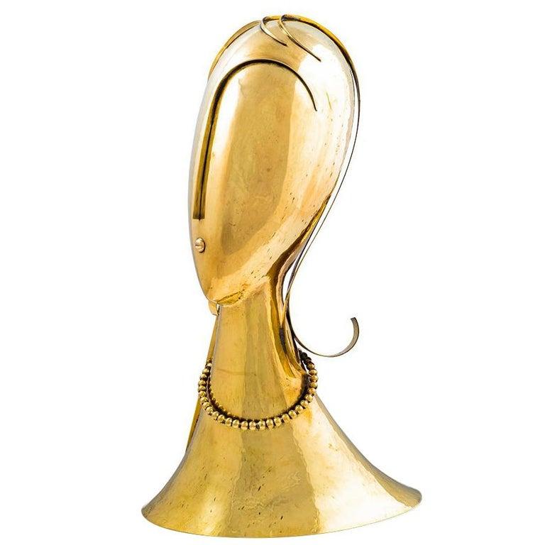 Important Beaten Brass Head Sculpture by Franz Hagenauer 1970s