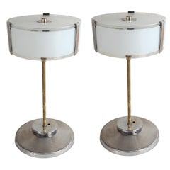 Pair of Chrome and Frosted Glass Mid-Century Modern Table Lamps