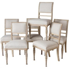 An Assembled Set of Six Swedish Late Gustavian Stockholm Dining Chairs