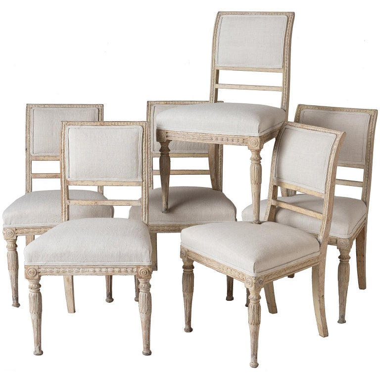 An Assembled Set of Six Swedish Late Gustavian Stockholm Dining Chairs For Sale