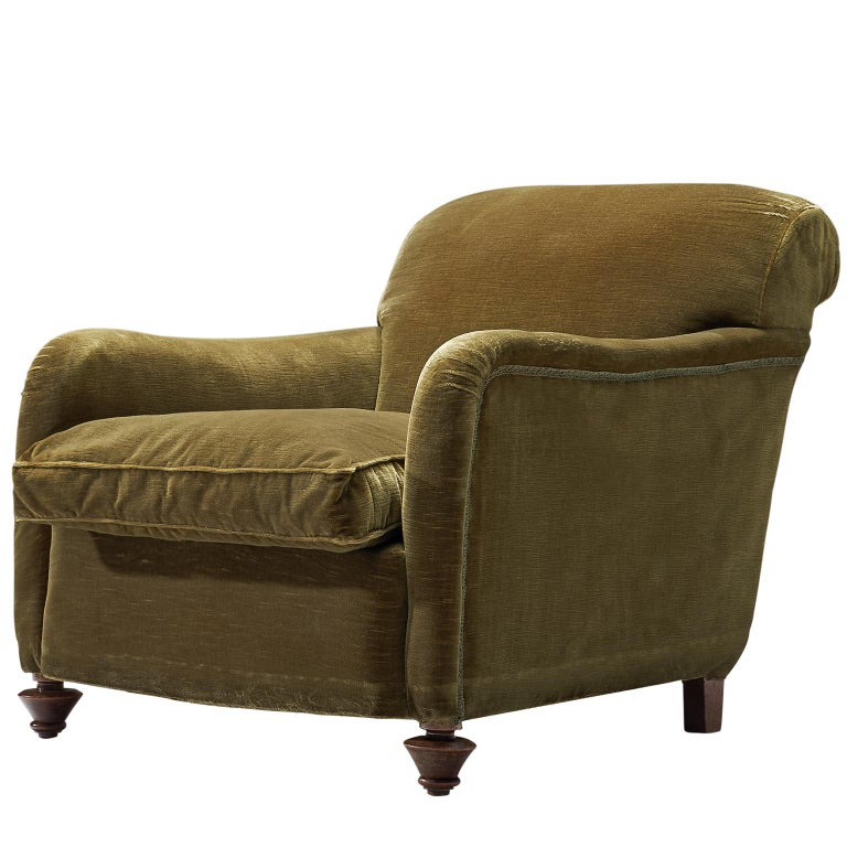 Green Velvet Lounge Chair, 1940s