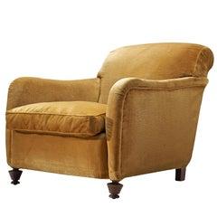 Yellow Velvet Lounge Chair, 1940s