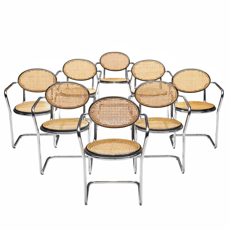 Set of Tubular and Cane Dining Chairs with Floating Seat, 1970s