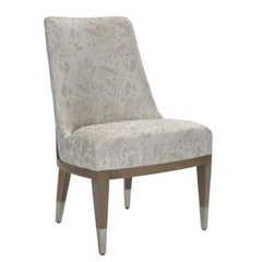 Donghia Lariat Dining Chair in Fossil White Patterned Cotton Upholstery