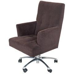 Donghia Eaton Swivel Chair in Eggplant Mohair Velvet