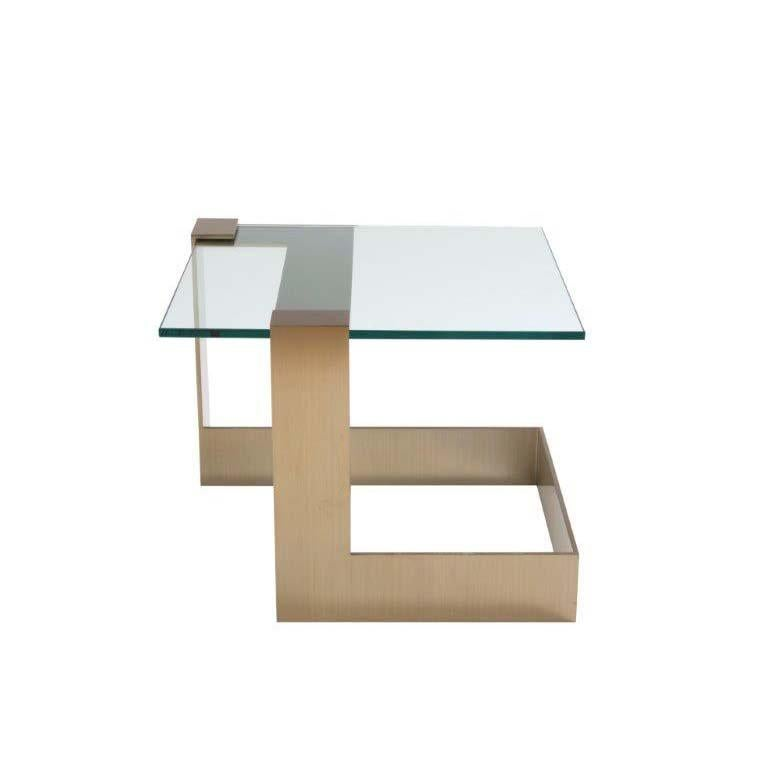 Ordinaire Donghia Anchor Small Occasional Table With Gold Base And Clear Top For Sale