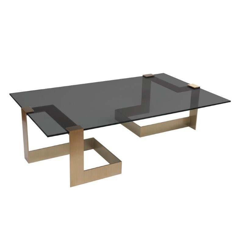 Donghia Anchor Large Cocktail Table Gold Base With Gray Top For Sale