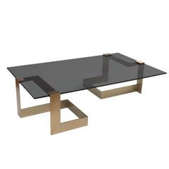 Donghia Anchor Large Cocktail Table Gold Base with Gray Top
