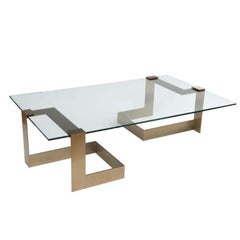Donghia Anchor Large Cocktail Table Gold Base with Clear Top