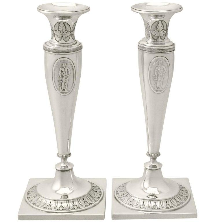 1870s German Silver Candlesticks