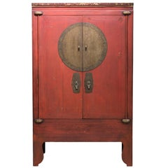 Late 19th Century Red Wedding Cabinet with Carvings