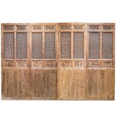 Late 19th Century Door Panels with Latticework