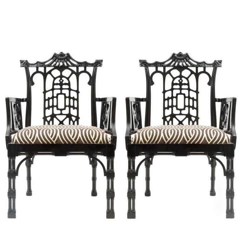 Pair of Chinese Chippendale Carved Fretwork Armchairs For Sale
