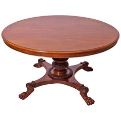 Danish Empire Round Center Pedestal Table in Mahogany, circa 1830