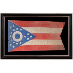 Early Ohio State Flag with Blue Disc Inside the Buckeye