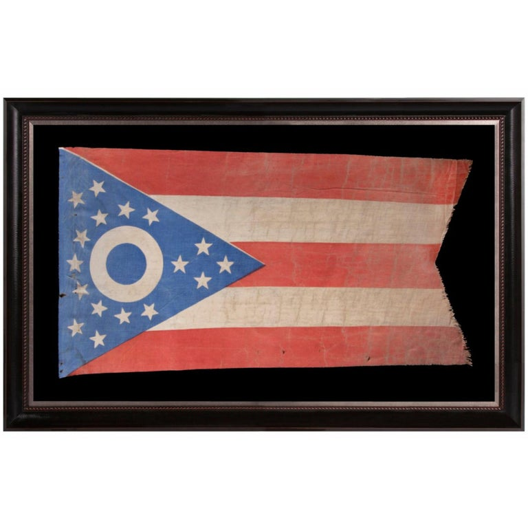 Early Ohio State Flag with Blue Disc Inside the Buckeye For Sale