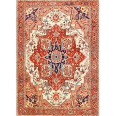 Large Antique Oriental Persian Serapi Rug