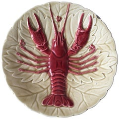 Majolica Crawfish or Lobster Plate Schutz Cilli, circa 1900
