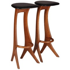 Midcentury Barstools in Teak and Leather by Reyway