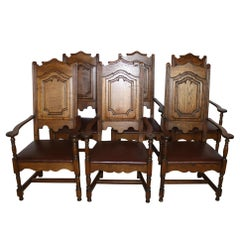 High Back Oak Armchairs with Leather Seats, Set of Six, circa 1910