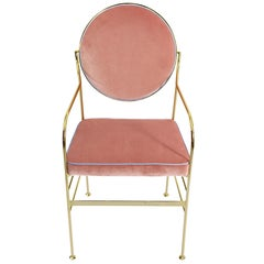 Luigina Gold Pink Queen Velvet Chair Made in Italy
