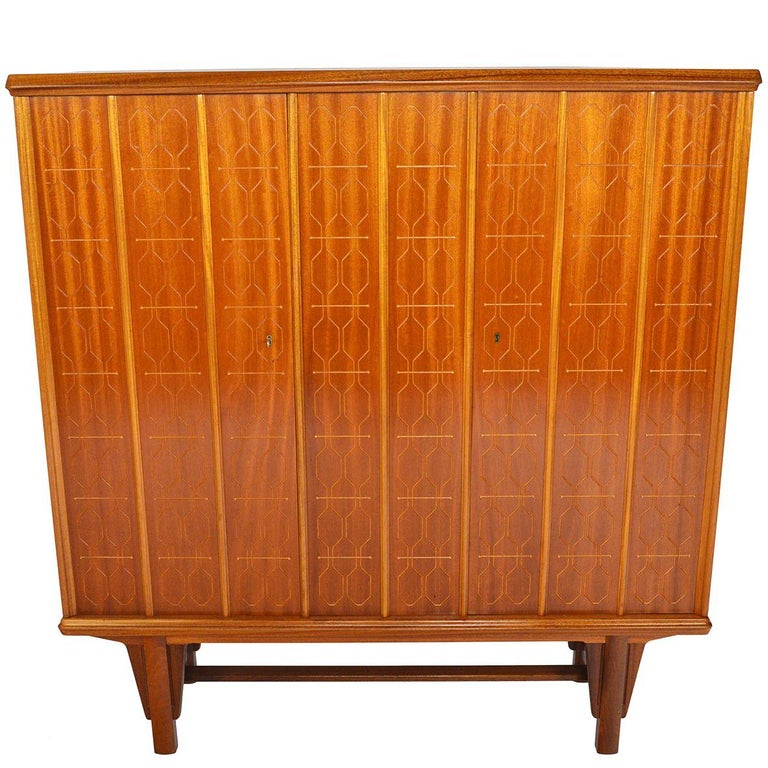 Tall Rastad and Relling Tall Geometric Credenza in Mahogany