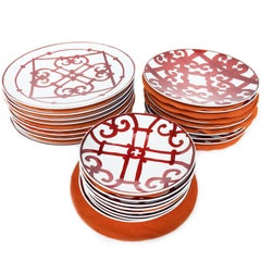 Hermès Balcon Du Guadalquivir Porcelain China for 8, a Set of 24 Plates