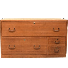 Low Four-Drawer Japanese Tansu Chest in Natural Finish